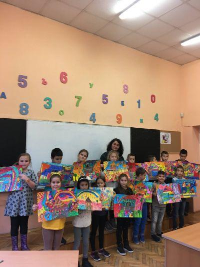 Моето училище - рисунки на децата от 2-ри А клас - https://bg-bg.facebook.com/NacalnoUciliseEdinstvoPleven